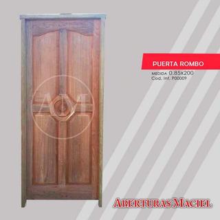 Puerta De Algarrobo Exterior Estilo Rombo De 4 Tableros