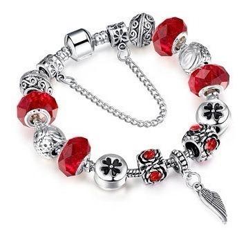 Pulseira Vermelha Estilo Pandora Bracelete Berloque Prata