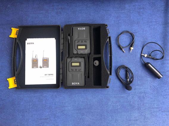 Microfone De Lapela Boya By-wm6 Uhf Wireless Para Dslr