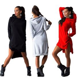Vestido Feminino Moletom Blusa De Frio Casaco Manga Longa