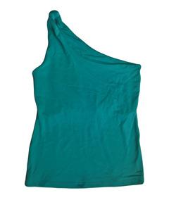 Blusa Ombro De Fora Assimetrica Azul Nó Turquesa Tam P