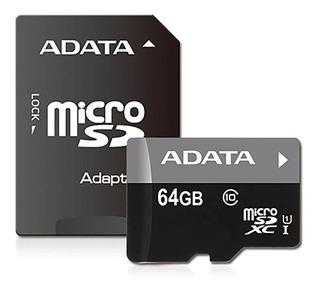 Memoria Micro Sd Adata Clase 10 C/adaptador 64gb P/celulares