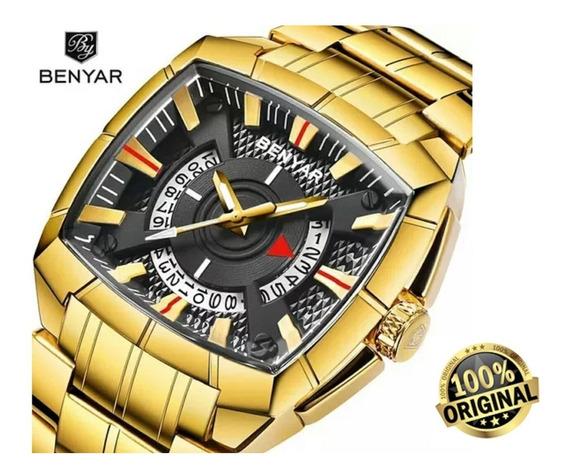 Relógio Masculino Quadrado Dourado Benyar By-5130m + Brinde