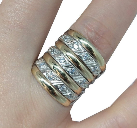 Anel 7 Elos Ouro E Prata Cravejado Pedras Zircônias Feminino