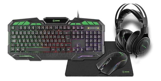 Combo Gamer 4 Em 1 Teclado + Mouse + Headphone + Mousepad