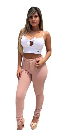 Calça Jeans Flare E Skinny Estilo Pit Bull Cós Alto C/ Lycra