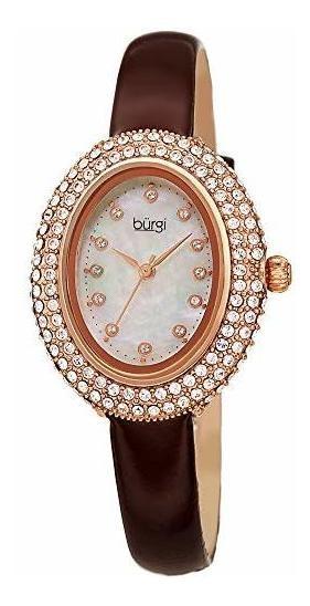 Reloj Ovalado De Cristales De Swarovski Burgi? Cristales Swa