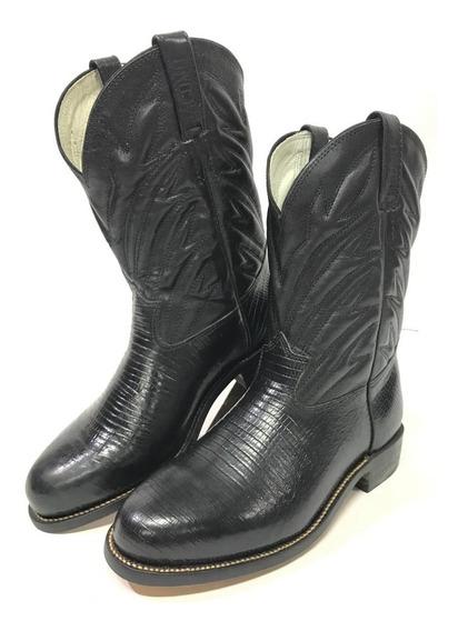 Bota Texana Country Jácomo Bico Redondo Solado Em Couro