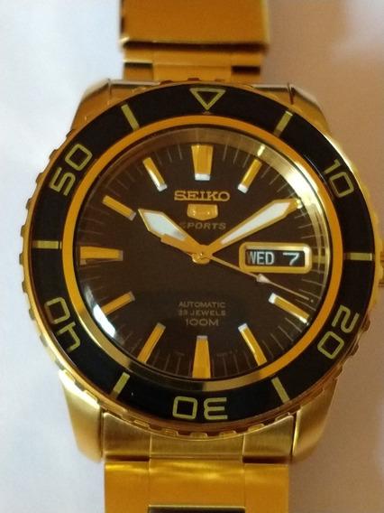 Relógio Seiko 5 Automático Original 100m Dourado