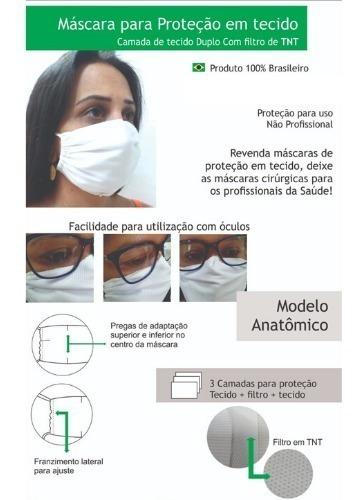 Mascara Tecido Rosto Dupla Proteção Lavável Não Descartavel