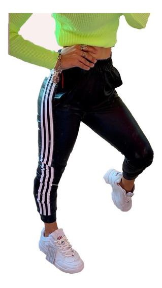 Pantalon Babucha Engomado Con Franja De Mujer Retro Juvenil Casual De Moda Urbano
