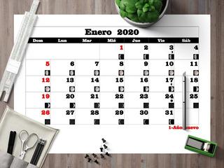 Pdf Calendario 2020 Lunar Mensual Con Feriados A4 Imprimir