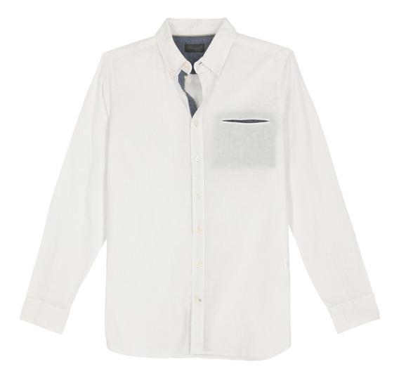 Camisa De Lino Manga Larga De Hombre C&a 1050762