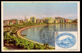 Cartão Postal Vista Parcial Rj Selo/carimbo Datas Diferentes