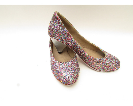 Zapato De Punta Redonda Glitter Multicolor