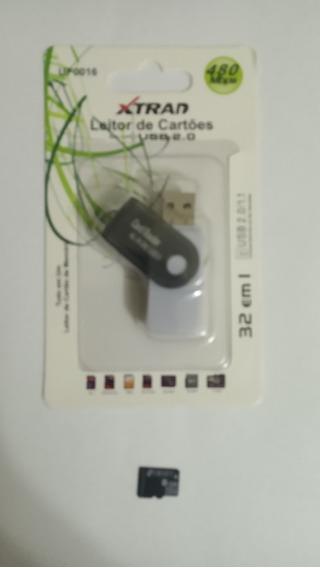 Cartão De Memória Micro Sd 8gb + Leitor De Cartão