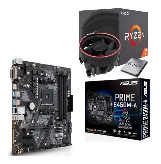 Kit Amd Ryzen R7 2700 Mb Asus Prime B450m-a Com Nota Fiscal