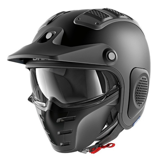 Casco Moto Abierto Modular Fibra Vidrio Shark X Drak Blank