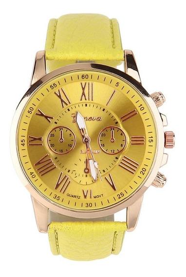 Romen Número Display Relógios De Pulso Material De Couro