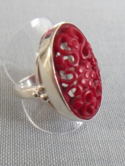 Anel Coral Vermelho E Prata 925 Aro 24
