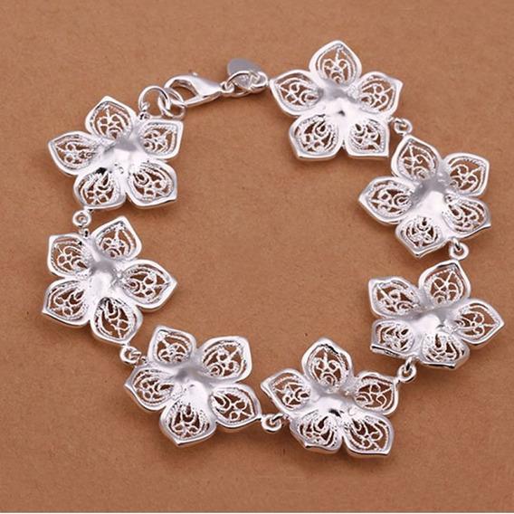 Pulseira Bracelete Feminino Prata De Lei 925 Flores Flor 304