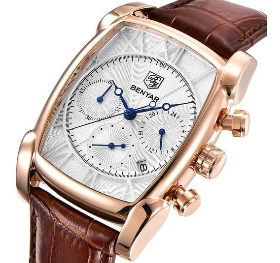 Homens Relógio De Quartzo Business Benyar Rose