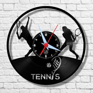 Tennis Esporte Jogo Raquete Bola Relógio Vinil Parede Lp