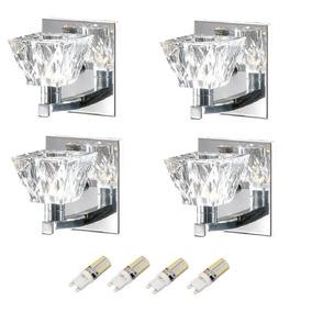 4 Arandela Cristal Jateada Espelho Cabeceira Alz5 + Led 3w