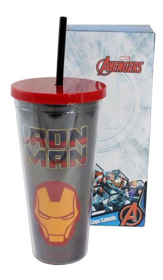 Copo Canudo Marvel Homem De Ferro - 650ml