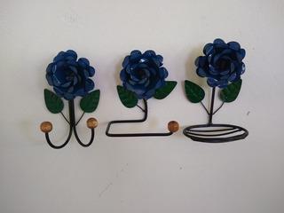 Kit Para Banheiro Com Flores Em Ferro