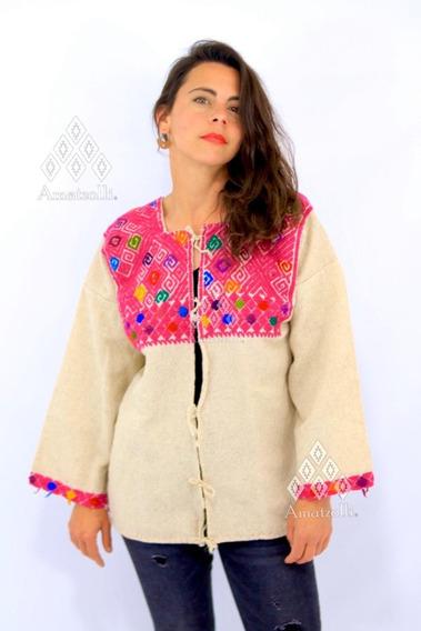 Abrigo Chaqueta Sobretodo De Lana Mexicano Bordado A Mano