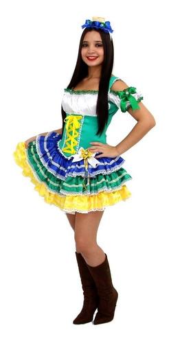 Vestido Caipira Adulto Festa Junina Quadrilha Copa Brasil