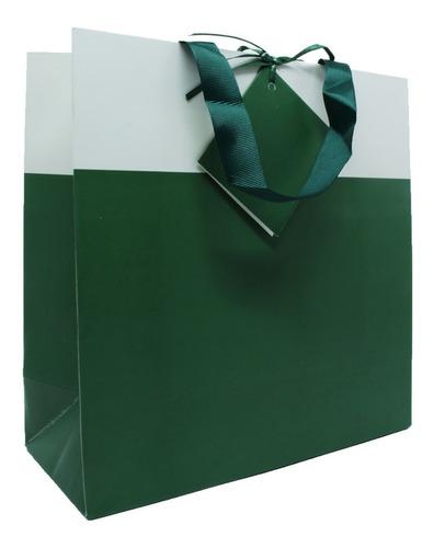 Sacola Para Presente Verde E Branca Com Cartão 24x24 Cm