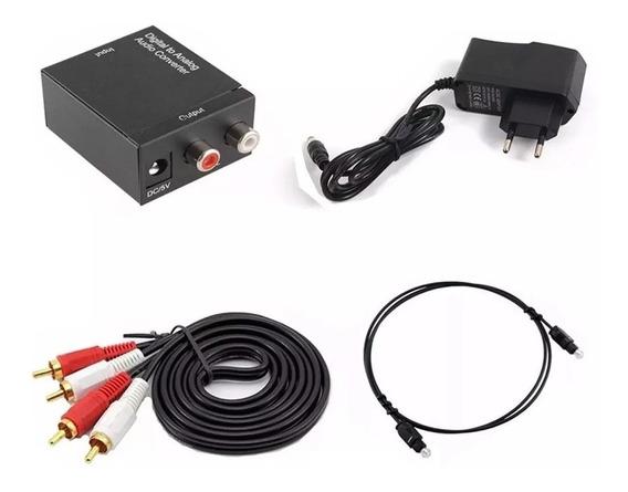 Kit Conversor Áudio Digital P/ Rca + Cabo Óptico