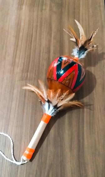1 Maraca Cabaça C Penas Artesanal Indígena Exclusiva
