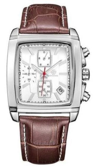 Relógio Sihaixin Modelo A10g Original Com Couro E Cronógrafo