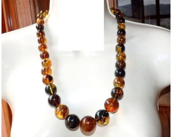 Exclusivo Collar Con Esferas De Ámbar Auténtico Y Plata / 3