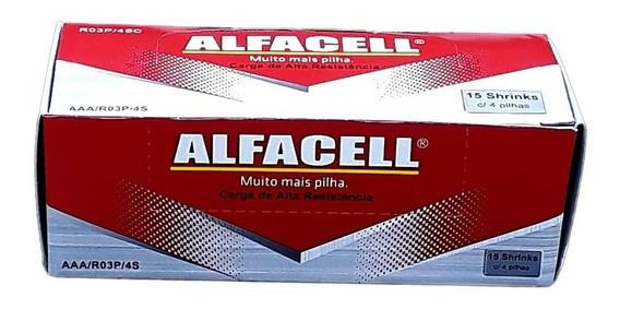 Pilha Alfacell Palito Aaa 3a R03p 1,5v Caixa 60 Uni. Atacado