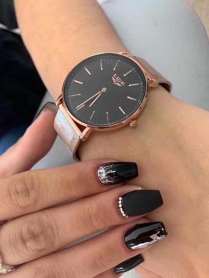 5 Relógio Lige Ouro Rosa Original - Novo