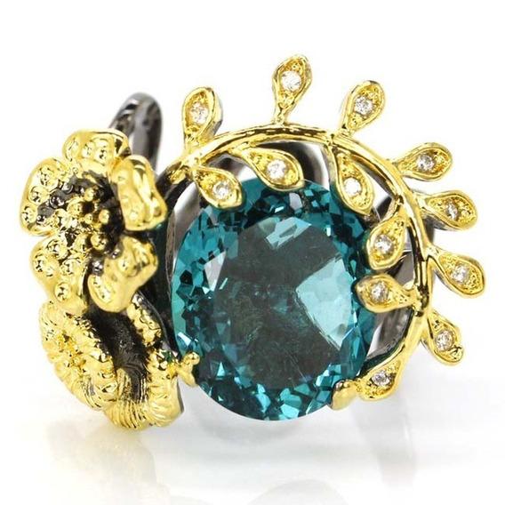 Anel Prata 925 Ouro Negro Pedra Aquamarine Aro 18 19 20 21