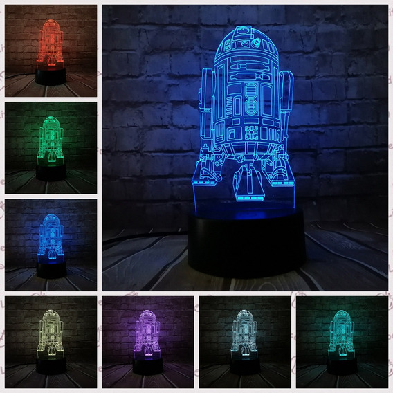 Lampara 3d Led Tipo Holograma Star Wars R2d2 7 Colors Touch