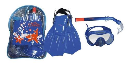 Imagen 1 de 2 de Kit De Playa Para Niños Morral Con Chapaletas Y Snorkel
