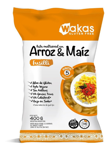Pasta Multicereal Arroz Y Maíz Fusilli Wakas Sin Tacc 400 Gr