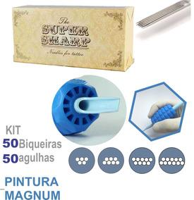 Kit Biqueira Com Agulha Super Sharp 32mm Magnum 50uni