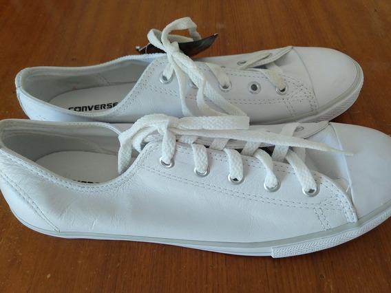Tênis All Star Converse Branco De Couro Número 40