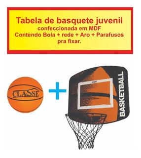 Tabela De Basquete Cesta Juvenil Com Aro Rede + Bola