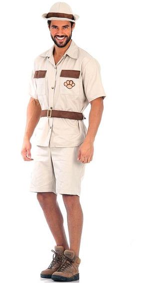 Fantasia Safari Masculino Adulto Sulamericana Com Chapéu