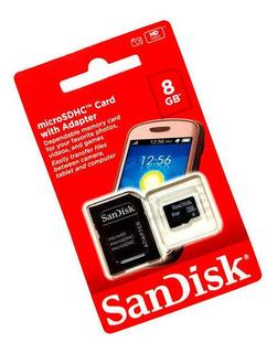 Cartao Memoria Sandisk 8gb Microsdhc Com Adaptador