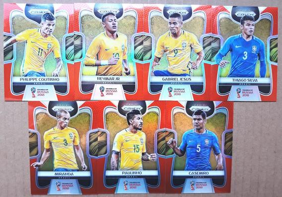 Lote 7 Cards Prizm Brasil Série Laranja #/65 Copa Mundo 2018