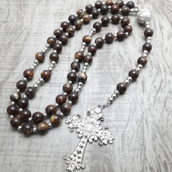 Terço Rosário Católico Longo - Noiva - Marrom(artesanal)